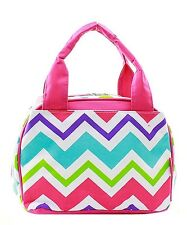 Chevron Insulated Lunch Box-Lunch Tote Bag-Aqua- Lunch Bag-Back to school