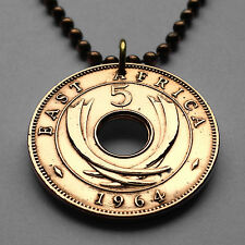 UK East Africa 5 cent coin pendant necklace African elephant horns Kenya n000843