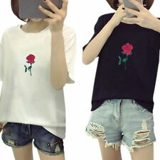 Fashion Women Blouse Ladies Summer Lovely Rose Short Sleeve Casual Tops T-Shirt