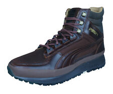 Puma Montapon Luxe Mens Leather Trainers / Hi Top Sports Boots - Brown