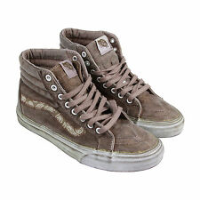 Vans Sk8 Hi Reissue + Mens Brown Suede High Top Lace Up Trainers Shoes