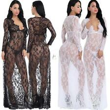 Women's Sexy See Through Lace Deep V-Neck Long Sleeve Long Nightgown Maxi Dress