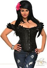 Embroidered Peasant Top Corset Cap Sleeves  S -2XL Black Satin Goth Victorian