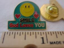 SMILE God Loves YOU *SMILEY/happy  FACE PIN with hearts