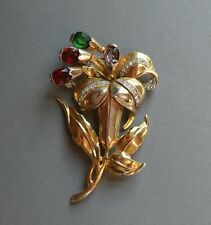 """Vintage Large 3 1/2"""" 1940s Brooch w/ Rhinestones and Colored Stones"""