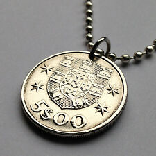 Portugal 5 escudos coin pendant Portuguese masted SHIP carrack caravela n001538b