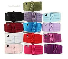 New Boys 2 Piece Cummerbund Cover Band and Bow Tie Set Wedding Colors US Seller
