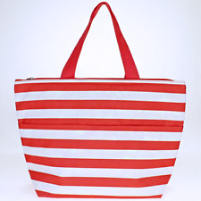 Coral stripe Insulated Lunch Tote Bag-Lunch Bag