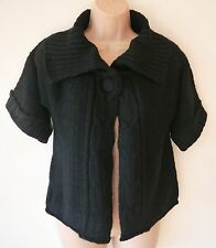 Womens Cape Style Cardigan Size 10 12 14 New Ladies Black Cable Knit detail BNWT