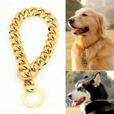 15mm Gold Tone Curb Cuban Link Dog Chain Pet Collar Stainless Steel 14''-26''