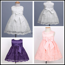 Baby Girls Sleeveless Floral Embroidered Bow Wedding Birthday Party Tutu Dresses