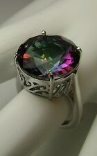 8ct Round Cut *Mystic Topaz* Sterling Silver Filigree Ring Size {Made To Order}
