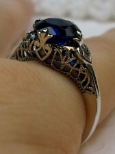 Deco/Victorian *Sapphire* Sterling Silver Filigree Ring Size: {Made To Order}