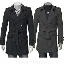 New Men's Slim Stylish Trench Coat Winter Long Jacket Double Breasted Overcoat r