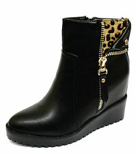 LADIES BLACK LEOPARD WEDGE ZIP ANKLE CALF COMFY SMART PLATFORM BOOTS SHOES 3-8