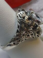 Oval 3ct White Gem Sterling Silver Deco Swirl Filigree Ring {Made To Order} #168