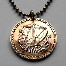 Cyprus 5 Mils coin pendant Cypriot galley VIKING ship Greece Turkey n000200