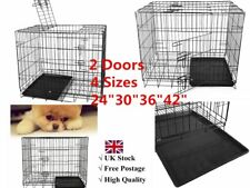 """24""""30""""36""""42""""Folding Dog Cage Pet Puppy Crate Travel Carrier Training Sleeping HT"""