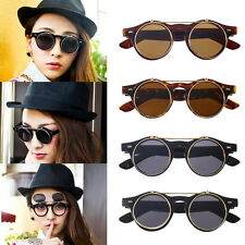 Steampunk Goggles Glasses Round Sunglasses Emo Retro Vintage Flip Up Cyber ~ GH