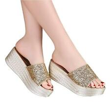 Womens Glitter Slip on Wedges Heels Mules Platform Sequins Sandals Shoes New YHT