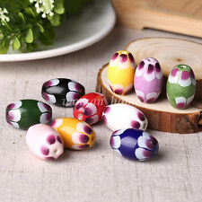 5pcs Oval Charms Petal Printing Ceramic Loose Spacer Beads Necklace Accessory
