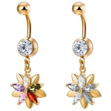 Multicolor Flower Navel Ring Crystal Rhinestone Belly Button Bar Body Jewelry