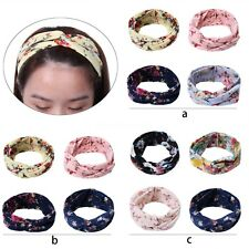 4 pcs Women's Girls Floral Elastic Knotted Turban Head Wrap Headband Hairband