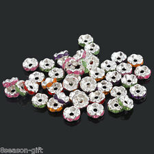 Wholesale Lots Gift Mixed SP Rhinestone Rondelle Spacer Beads 8x4mm