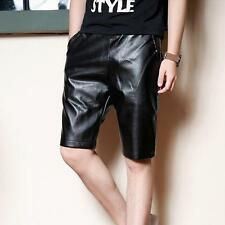 Fashion Mens faux leather shorts causal summer slim mid waist trousers black