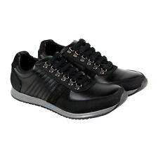Steve Madden Nexxis Mens Black Leather Lace Up Lace Up Sneakers Shoes