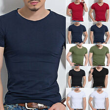 Mens Slim Fit Cotton Tops T-Shirt Short Sleeve Casual O/V-Neck Style Tee Shirt