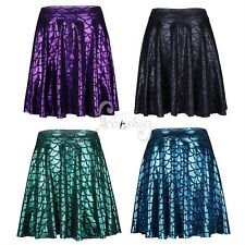 Women Girls Shiny Mermaid Fish Scales Flared Pleated Skater A-Line Mini Skirt