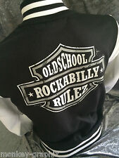 Biker jacket Old school Rockabilly Baseball College Black USA Retro Vintage
