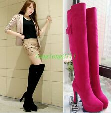 Womens Ladys Knee High boots Chunky High heels Shoes Platform Suede Boots Casual