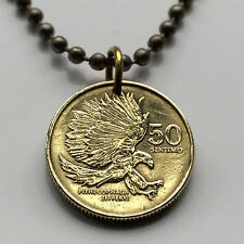 1994 Philippines 50 Sentimo coin pendant Monkey-eating eagle Filipino n002041