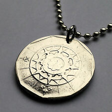 Portugal 20 escudos coin pendant Portuguese necklace Nautical Compass n000887