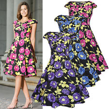 Vintage Style Summer Floral Evening Party Skater Womens Swing Dress Size 8-16-20