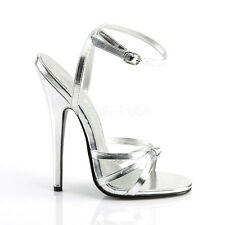 "Domina Shoe Silver High 6"" Spike Heels Ankle Strap Stiletto Shoes 108"