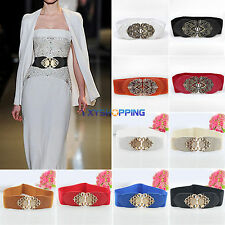 Women Dress Waist Wide Belt Leather Stretch Elastic Crystal Buckle Waistband New