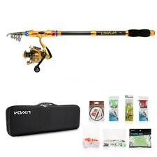 Fishing Rod Reel Set Telescopic Combo Rod And Reel Full Kit Case Line Lures H9T5
