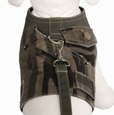 Cha Cha Couture Brown Camo Commado Dog Harness Vest with Leash (Choose Size)