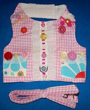 Cha Cha Couture Pink Gingham Daisies Buttons Vest Dog Harness Leash (Pick Size)