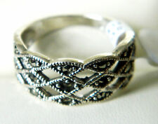 NEW Sterling Silver Ladies/Womens Marcasite Filigree Band Rings Size K-U