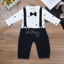 Infant Baby Boys' Gentleman Formal Wedding Bowtie Tuxedo Jumpsuit Romper Outfit