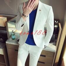 New Summer Mens slim fit Long Sleeve Suits Coat cropped Pants blazer one button