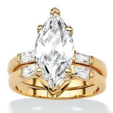 4.42 TCW Marquise-Cut Cubic Zirconia 18k Gold-Plated Bridal Engagement Ring