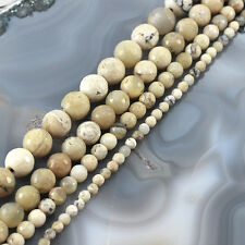 "Wholesale White Natural African Opal Faceted Round Beads Spacer15"" 3 5 8 10 12mm"