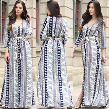 Boho Hippie Womens Ladies V Neck Party Evening Beach Chiffon Long Maxi Dress UK