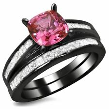 Noori 14k Black Gold 1ct TDW Cushion-cut Diamond and Pink Sapphire Engagement