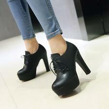 Womens Fashion round Lace up Platform High chunky Heel Pumps Court OL Shoes size